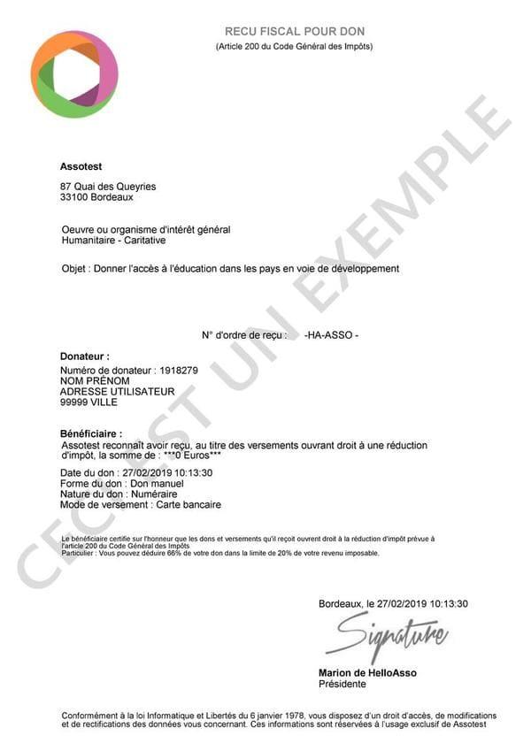 Exemple de reçu fiscaux envoyé automatiquement grâce à HelloAsso